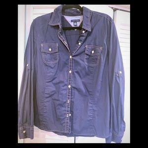 Chambray shirt  roll up tab sleeves.